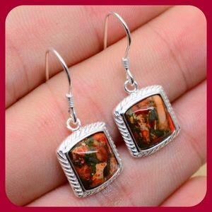 JUST IN SS Orange Copper Turquoise Earrings